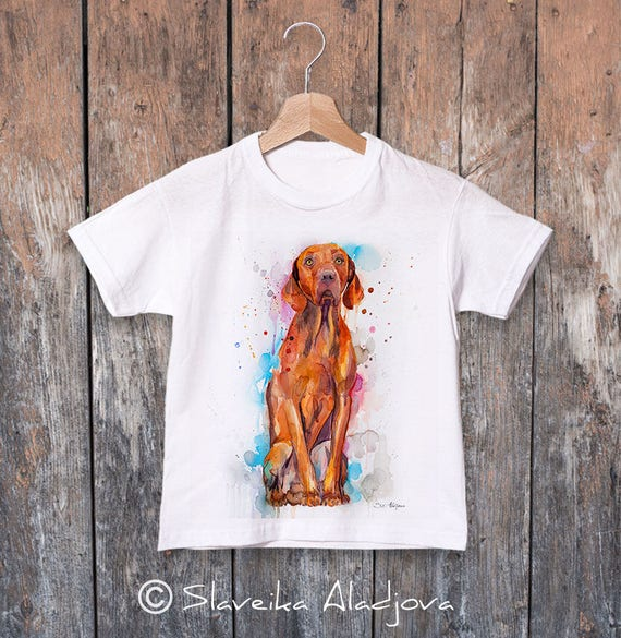 Vizsla watercolor kids T-shirt, Boys' Clothing, Girls' Clothing, ring spun Cotton 100%, watercolor print T-shirt,T shirt art