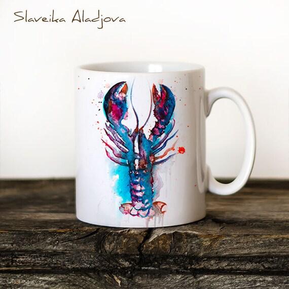 Lobster Mug Watercolor Ceramic Mug Unique Gift Coffee Mug Animal Mug Tea Cup Art Illustration Cool Kitchen Art Printed mug