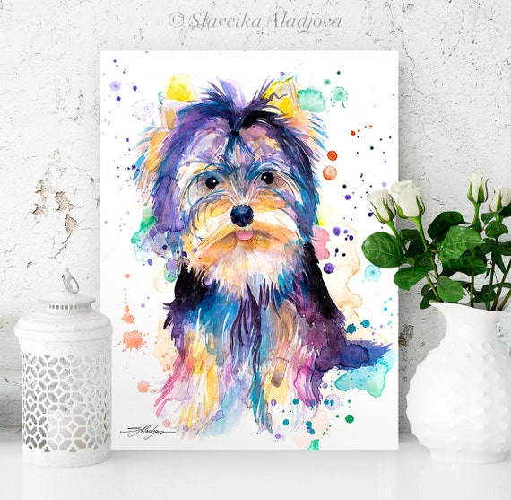 Yorkshire Terrier watercolor painting print by Slaveika Aladjova, animal, illustration, home decor, Nursery, Contemporary, dog art, wall art
