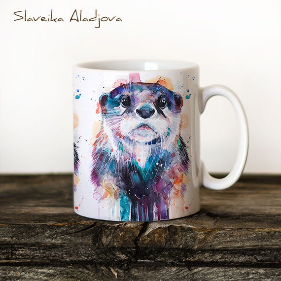 Otter Mug Watercolor Ceramic Mug Unique Gift Coffee Mug Animal Mug Tea Cup Art Illustration Cool Kitchen Art Printed mug