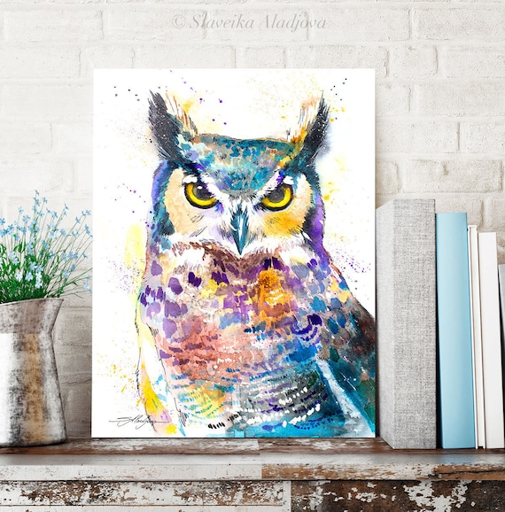 Horned Owl watercolor painting print by Slaveika Aladjova, art, animal, illustration, bird, home decor, wall art, Wildlife, Contemporary