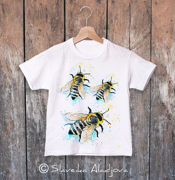 Bees watercolor kids T-shirt, Boys' Clothing, Girls' Clothing, ring spun Cotton 100%, watercolor print T-shirt, animal, illustration