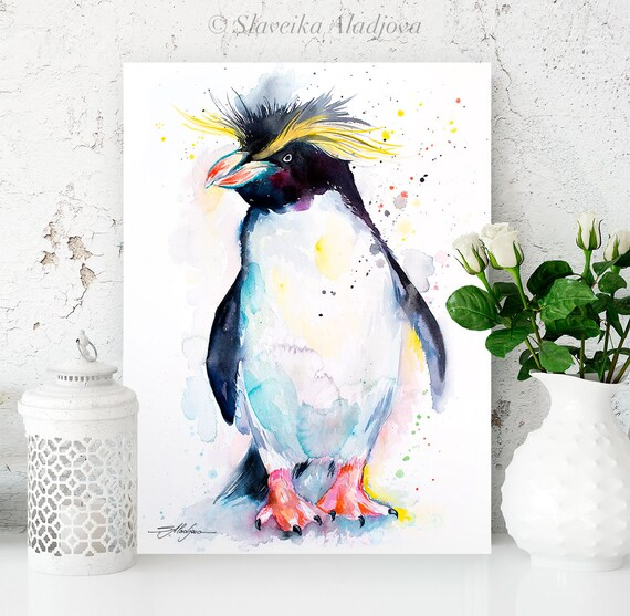 Rockhopper penguin watercolor painting print by Slaveika Aladjova, animal, illustration, Sea art, sea life art, nautical, ocean art, bird