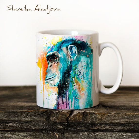 Chimp Chimpanzee 3 Mug Watercolor Ceramic Mug Unique Gift Coffee Mug Animal Mug Tea Cup Art Illustration Cool Kitchen Art Printed mug