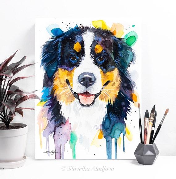Bernese Mountain Dog watercolor painting print by Slaveika Aladjova, animal, illustration, home decor, Nursery, Contemporary, dog art