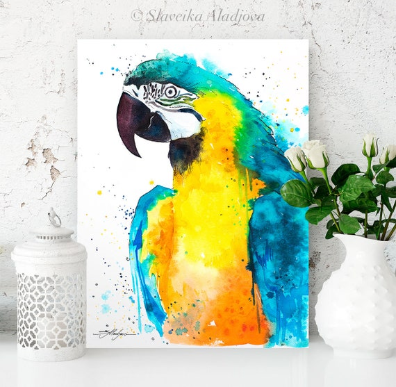 Blue and yellow macaw watercolor painting print by Slaveika Aladjova, art, animal, illustration, bird, home decor, wall art, Contemporary