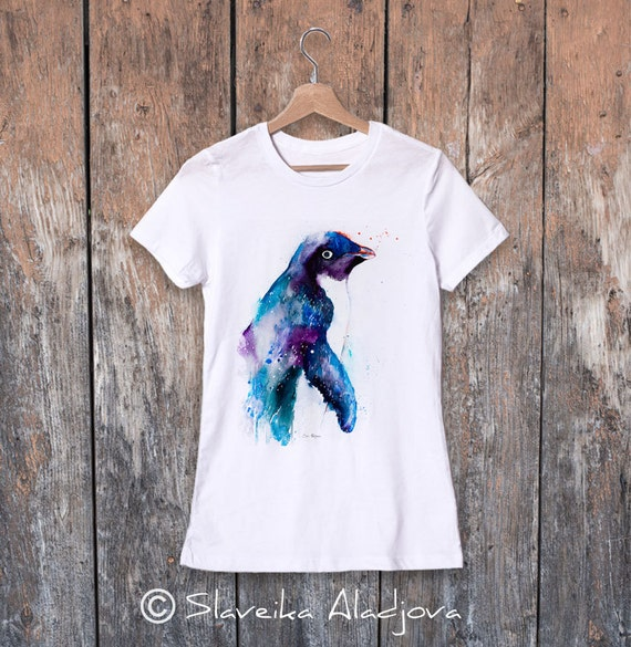 Adelie penguin watercolor ladies' T-shirt, women's tees, Teen Clothing, Girls' Clothing, ring spun Cotton 100%, watercolor print T-shirt,art