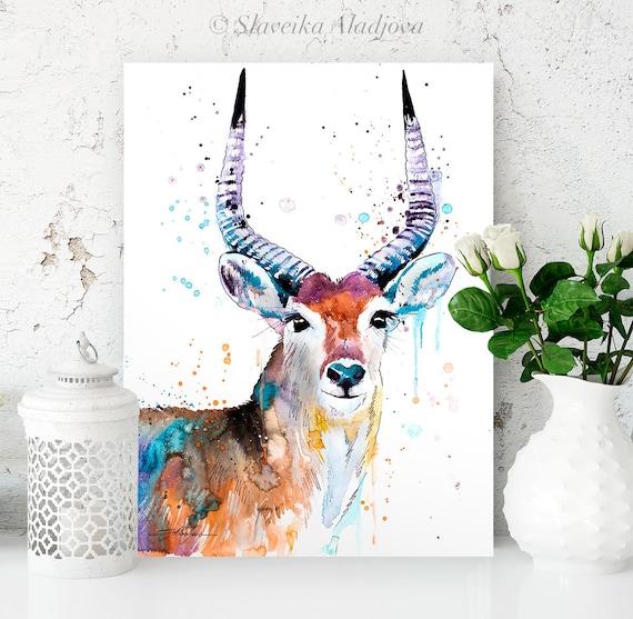 Red Lechwe watercolor painting print by Slaveika Aladjova, art, animal, illustration, home decor, Nursery, gift, Wildlife, wall art