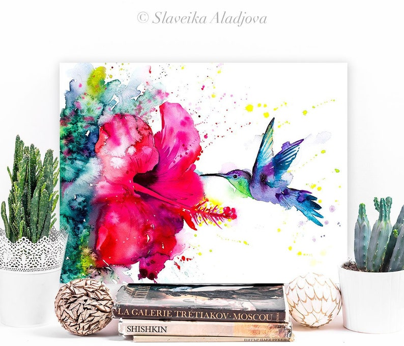 Violetear Hummingbird watercolor painting print by Slaveika image 0