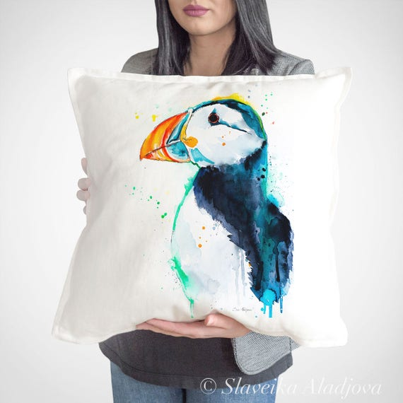 Puffin bird  throw pillow cover by Slaveika Aladjova, cushion cover, Decorative Pillow Cover, Animal Art, Watercolor pillow, Christmas gift