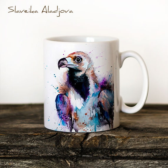 Vulture Mug Watercolor Ceramic Mug Unique Gift Coffee Mug Animal Mug Tea Cup Art Illustration Cool Kitchen Art Printed mug bird Puffin