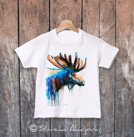Moose watercolor kids T-shirt, Boys' Clothing, Girls' Clothing, ring spun Cotton 100%, watercolor print T-shirt,T shirt art