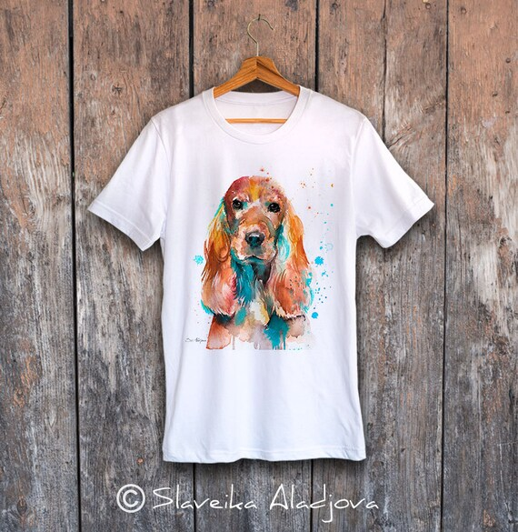 English Cocker Spaniel T-shirt, Unisex T-shirt, ring spun Cotton 100%, watercolor print T-shirt, T shirt art, T shirt XS, S, M, L, XL, XXL