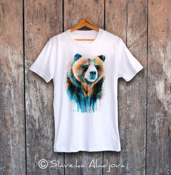 Grizzly bear T-shirt, Unisex T-shirt, ring spun Cotton 100%, watercolor T-shirt, T shirt art, T shirt animal, XS, S, M, L, XL, XXL