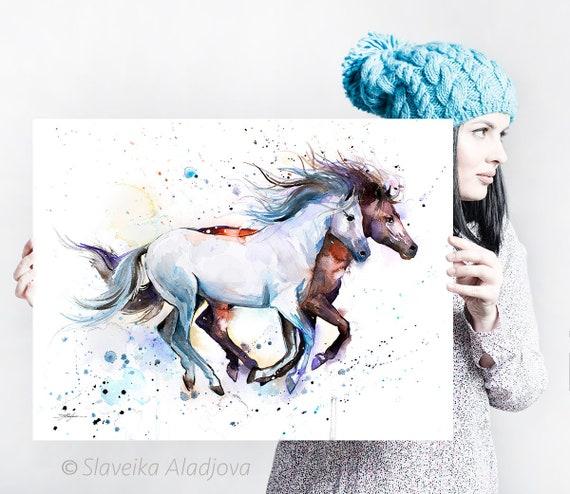 Horses watercolor painting print by Slaveika Aladjova, art, animal, illustration, home decor, wall art, gift, portrait, Contemporary