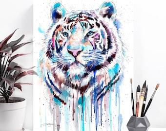 White Tiger watercolor painting print by Slaveika Aladjova, art, animal, illustration, home decor, Nursery, gift, Wildlife, wall art