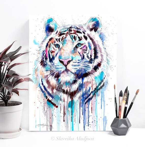White Tiger watercolor painting print by Slaveika Aladjova, art, animal, illustration, home decor, Nursery, gift, Wildlife, wall art
