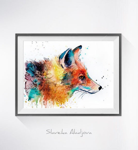 Original Watercolour Painting- Fox art, animal, illustration, animal watercolor, animals paintings, animals, portrait,