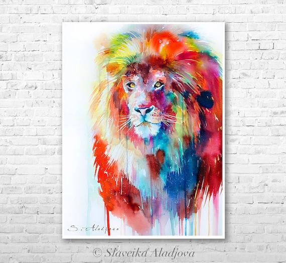 Lion watercolor painting print by Slaveika Aladjova, art, animal, illustration, home decor, Nursery, African, Wildlife, Contemporary