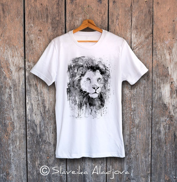 Black & White Lion T-shirt, Unisex T-shirt,ring spun Cotton 100%, watercolor print T-shirt, T shirt art, T shirt animal,XS, S, M, L, XL, XXL