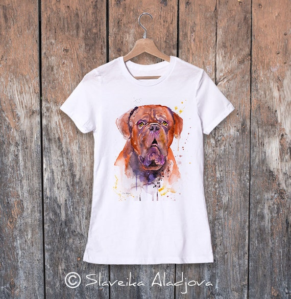 Dogue de Bordeaux watercolor ladies' T-shirt, women's tees, Teen Clothing, Girls' Clothing, ring spun Cotton 100%, watercolor print