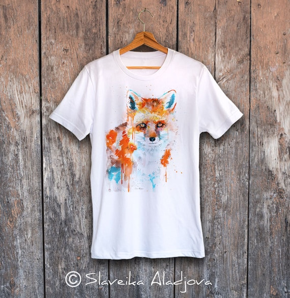 Fox T-shirt, Unisex T-shirt, ring spun Cotton 100%, watercolor T-shirt, T shirt art, T shirt animal, XS, S, M, L, XL, XXL