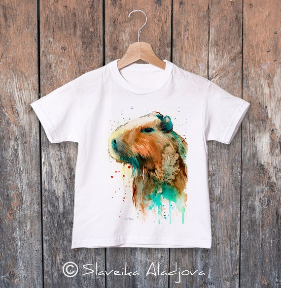 Capybara watercolor kids T-shirt, Boys' Clothing, Girls' Clothing, ring spun Cotton 100%, watercolor print T-shirt,T shirt art