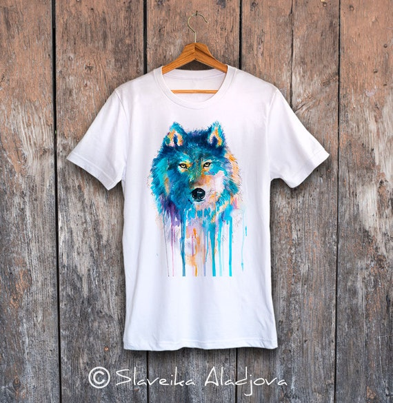 Wolf T-shirt, Unisex T-shirt with wolf print, Men's tees, Wolf Lover Gift, watercolor print tee, ring spun Cotton 100%, Colourful print