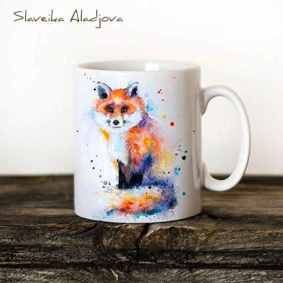 Fox Mug Watercolor Ceramic Mug Unique Gift Coffee Mug Animal Mug Tea Cup Art Illustration Cool Kitchen Art Printed mug Foxes mugs