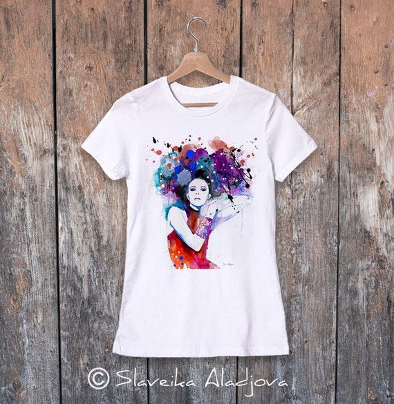 Colorful Girl watercolor ladies' T-shirt, women's tees, Teen Clothing, Girls' Clothing, ring spun Cotton 100%, watercolor print