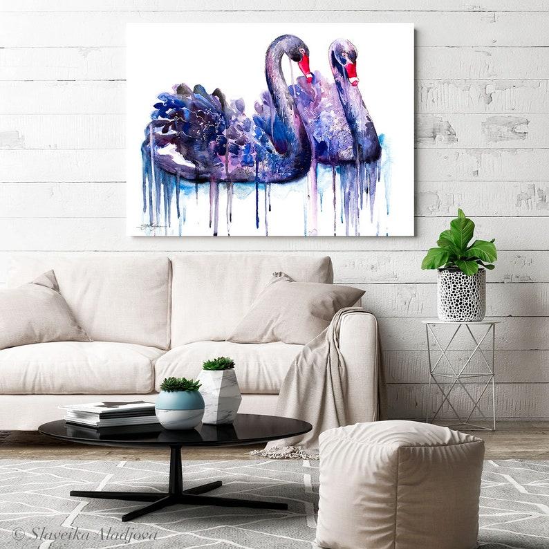 home decor Black swan watercolor painting print by Slaveika Aladjova,art bird illustration wall art valentine\u2019s gift, animal
