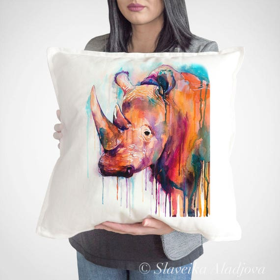 Rhino throw pillow cover by Slaveika Aladjova, cushion cover, Decorative Pillow Cover, Animal Art, Watercolor pillow,Christmas gift