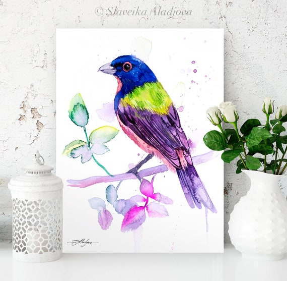 Painted bunting watercolor painting print by Slaveika Aladjova,art, animal, illustration, bird, home decor, wall art, gift,