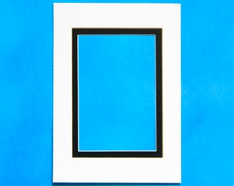 5x7in Art Mat Set of 5- White and Black Double Picture Frame Mat