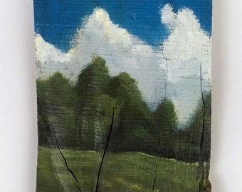 "Landscape painting ""skyward"", acrylic on wood, clouds, sky,blue,green, earth, nature, reclaimed wood, wood art"