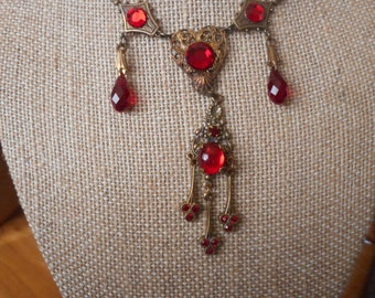 vintage brass necklace victorian style with red stones