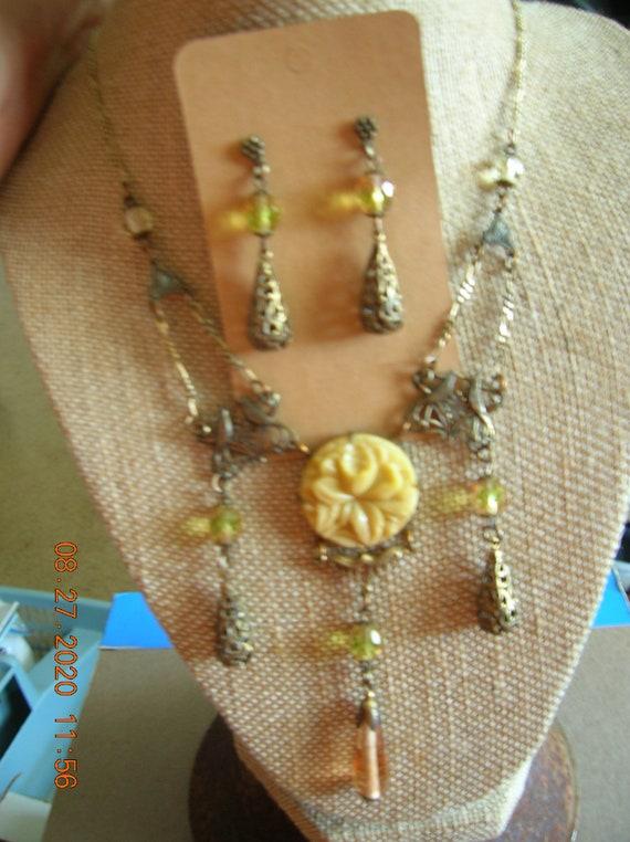 Vintage Sadie Green necklace and earrings set