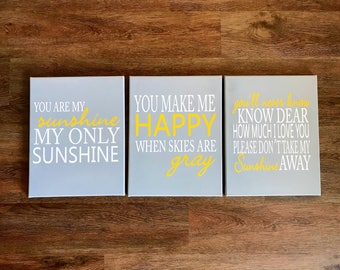 You are my sunshine my only sunshune, popular childrens song, wall hanging, kids wall sign, nursery wall sign, sunshine wall art, playroom