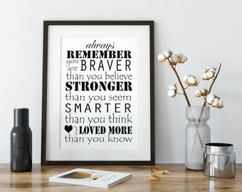 Always Remember you are braver than you believe, stronger, smarter, winnie the pooh, CUSTOM COLORS, printable, nursery sign, playroom sign