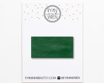 Kelly green leather snap clip