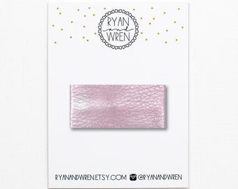 Metallic pink leather snap clip