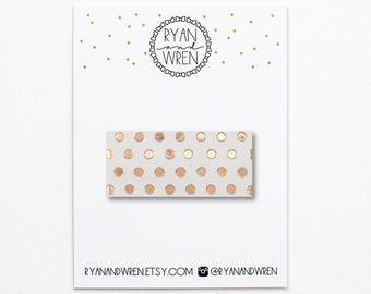 rose gold dot leather snap clip
