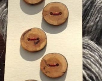 Round Maple Buttons - set of six