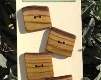 Rectangular Sumac Wood Buttons - set of six