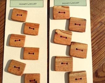 Rectangular Honeylocust Wood Buttons - set of six