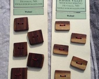 Rectangular Walnut Wood Buttons - set of six