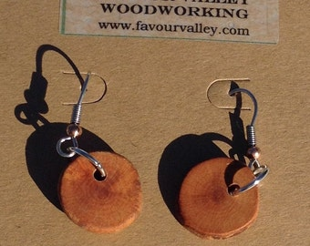 Small Wood and Antler button earrings