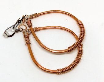 Aluminum, wire, hoop, earrings copper