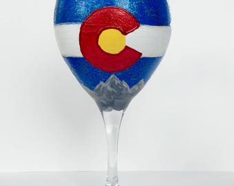 Colorado Flag Classic Color Wineglass, hand-painted 20oz glasses