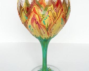 Sunflower Wineglass, hand-painted 20 oz glass